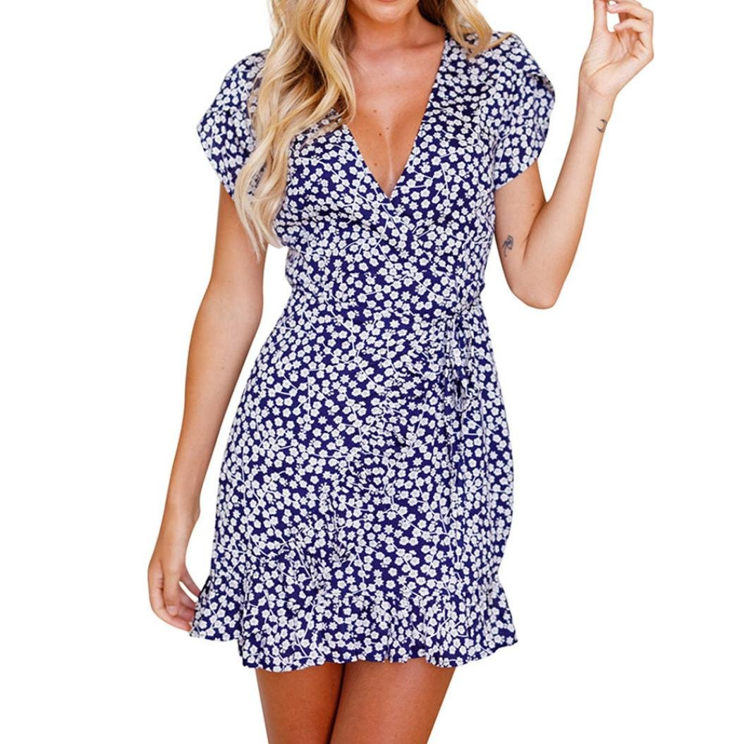 Amazon.com: Minisoya Women Boho Floral Dress Casual Short Sleeve Deep V Summer Evening Party Beach Tunic Mini Dress: Clothing