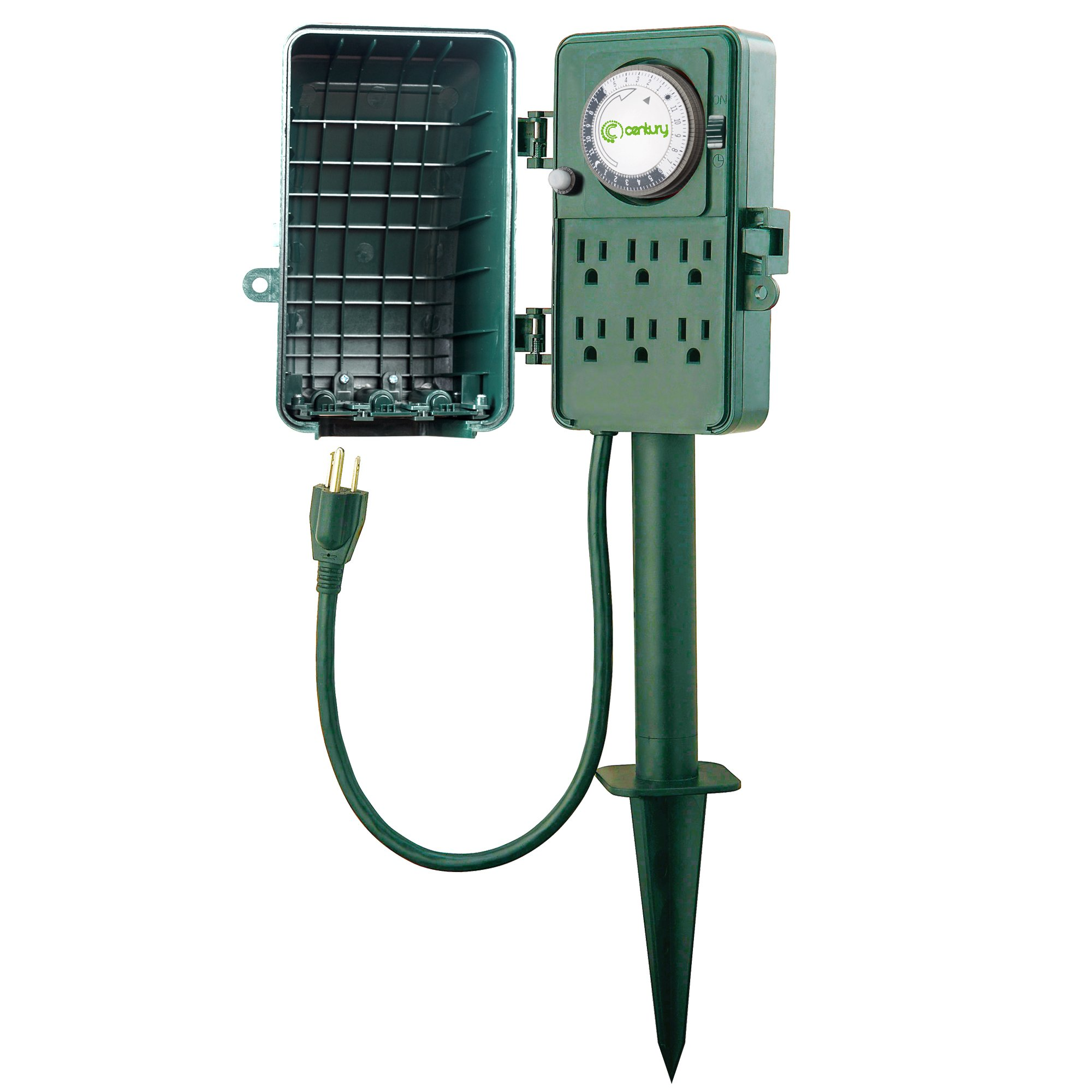 Century 24 Hour Mechanical Outdoor Multi Socket Timer, Waterproof Cover with 6 Outlet Garden Power Stake,6 ft Extension Cord,Outdoor Christmas Lights,Rain Tight 1875W/15A ETL Listed by Century