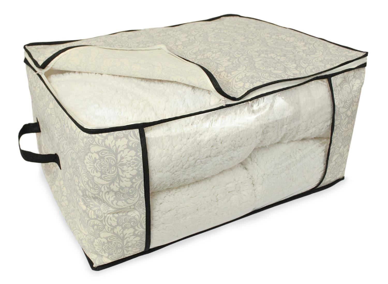 CC Home Furnishings Set of 2 Gray Damask Patterned Soft Storage Bins with Zipper Closure 24''