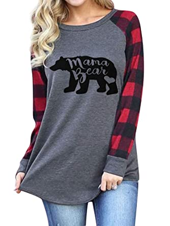 2530df68025c65 Amazon.com  Dresswel Womens Mama Bear Letter Print Graphic Print Long  Sleeves Checkered Stitching Color Block Casual Tops Tee Shirt  Clothing