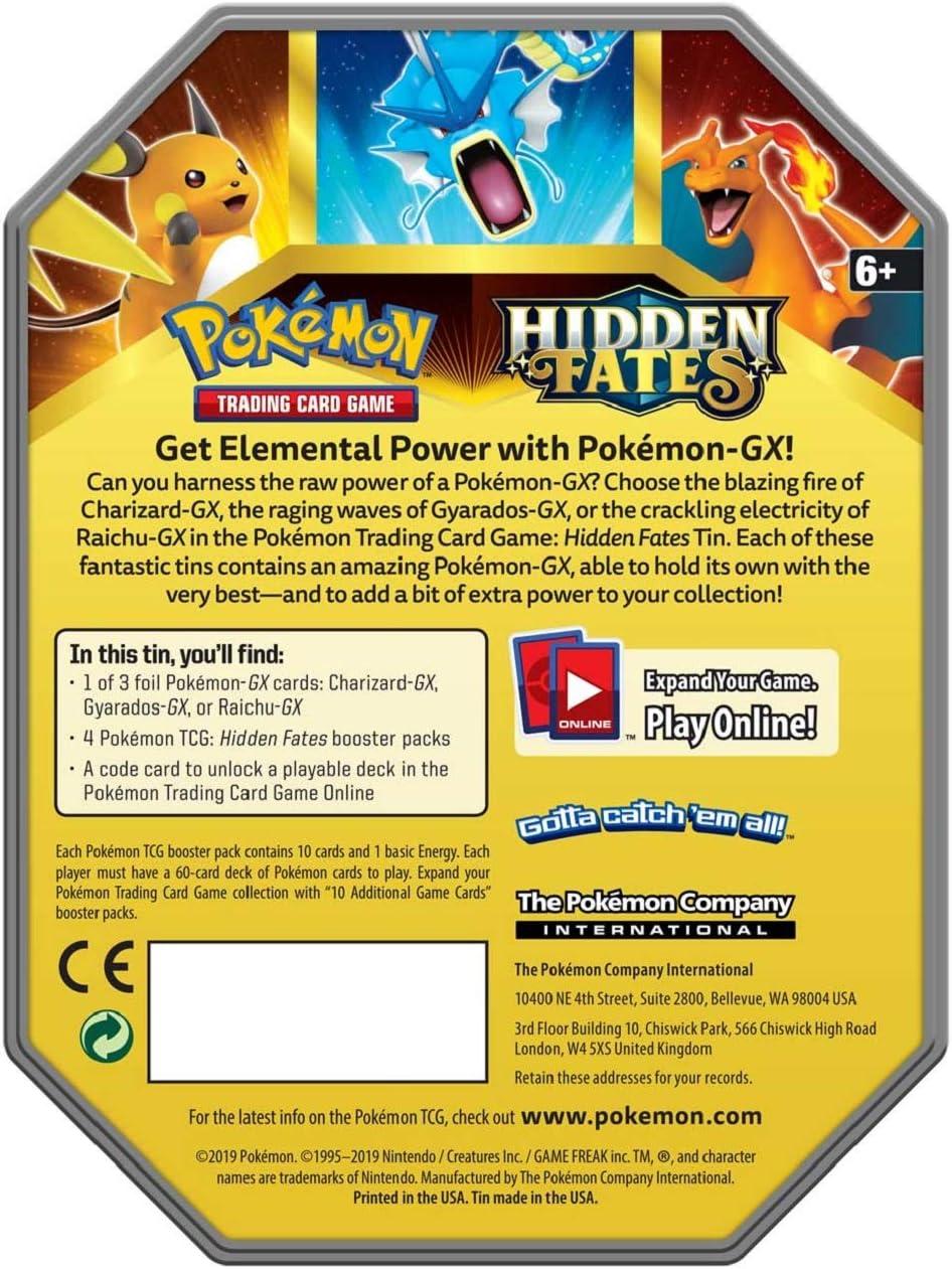 Pokemon Hidden Fates Gyarados GX Collectors Tin | Inc Booster Packs & Promo Card: Amazon.es: Juguetes y juegos