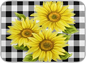 Dish Drying Mats for Kitchen Counter Buffalo Plaid Black And White Checked Sunflower Floral 18X 24 Inch Fast Drying Absorbent Drying Mat