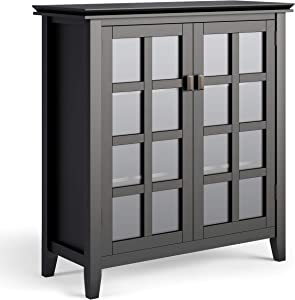 SIMPLIHOME Artisan SOLID WOOD 38 inch Wide Contemporary Medium Storage Cabinet in Black, with 2 tempered glass doors , 4 adjustable shelves