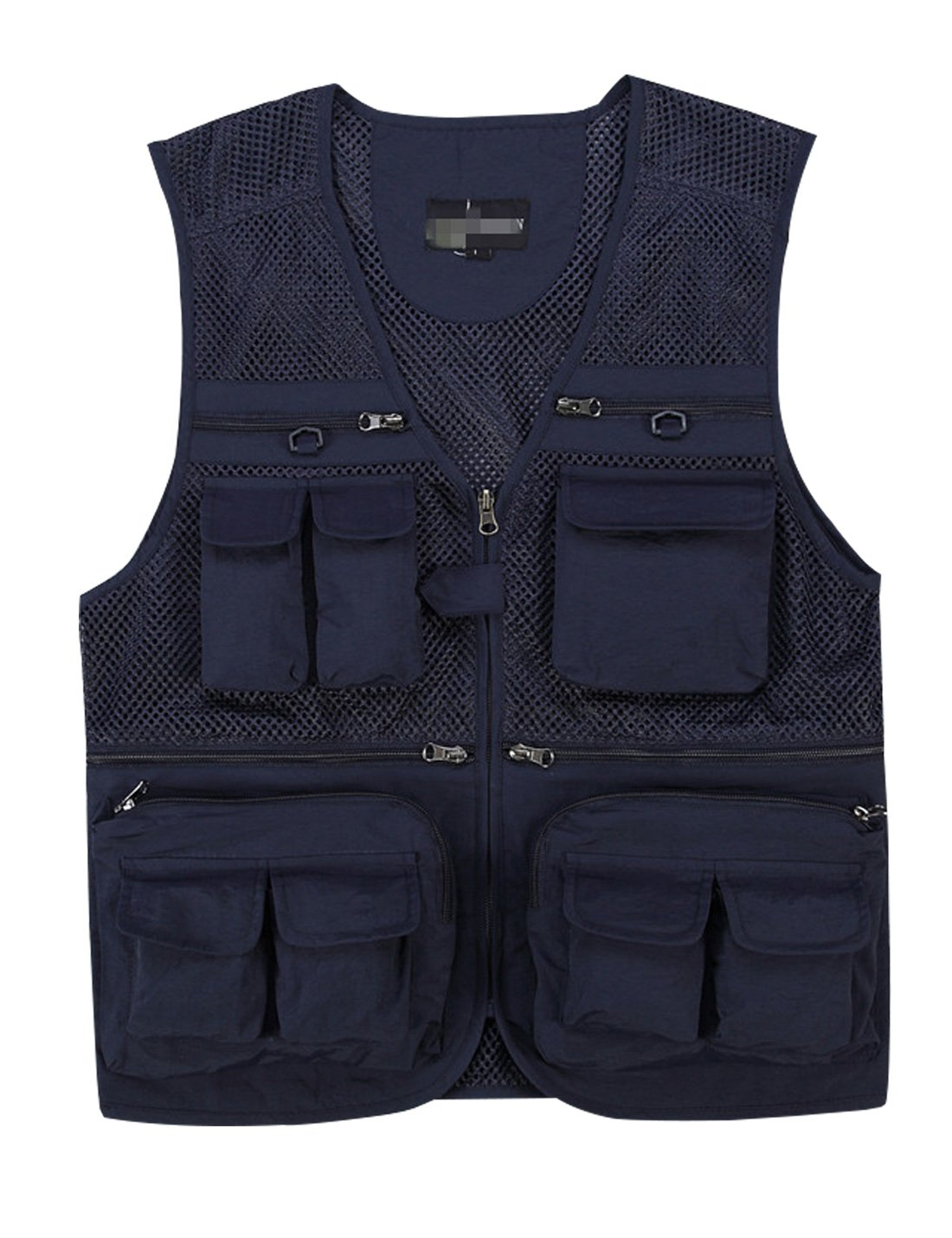 Gihuo Men's Summer Cotton Leisure Outdoor Pockets Fish Photo Journalist Vest Plus Size (Large, Navy-mesh) by Gihuo