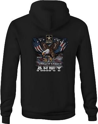 US Army Zip Up Hoodie Screaming Eagle Hooded Sweatshirt for Men