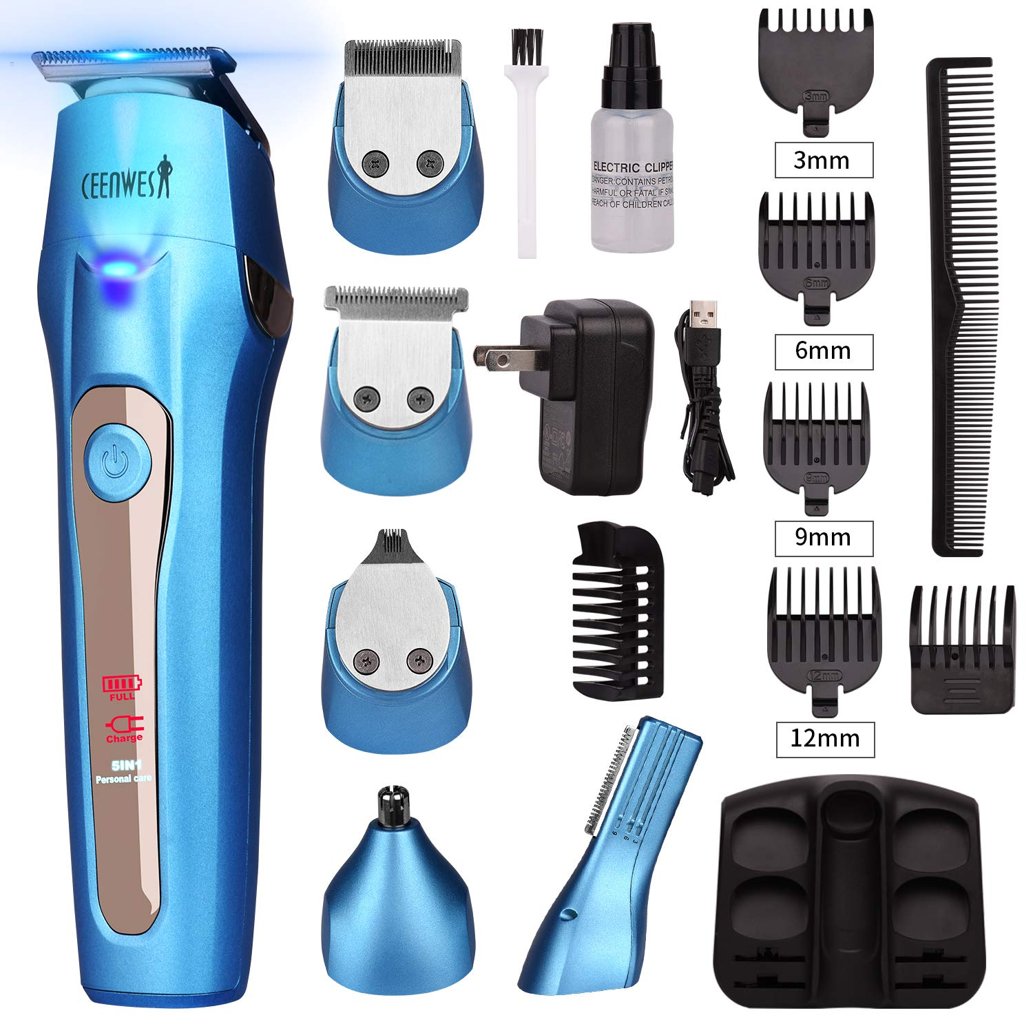 Ceenwes 5 In 1 Mens Grooming Kit Professional Beard Trimmer Rechargeable Hair Clippers Multi-purpose Mustache Trimmer Waterproof Nose& Ear Body Trimmer For Men Father Husband Boyfriend by Ceenwes