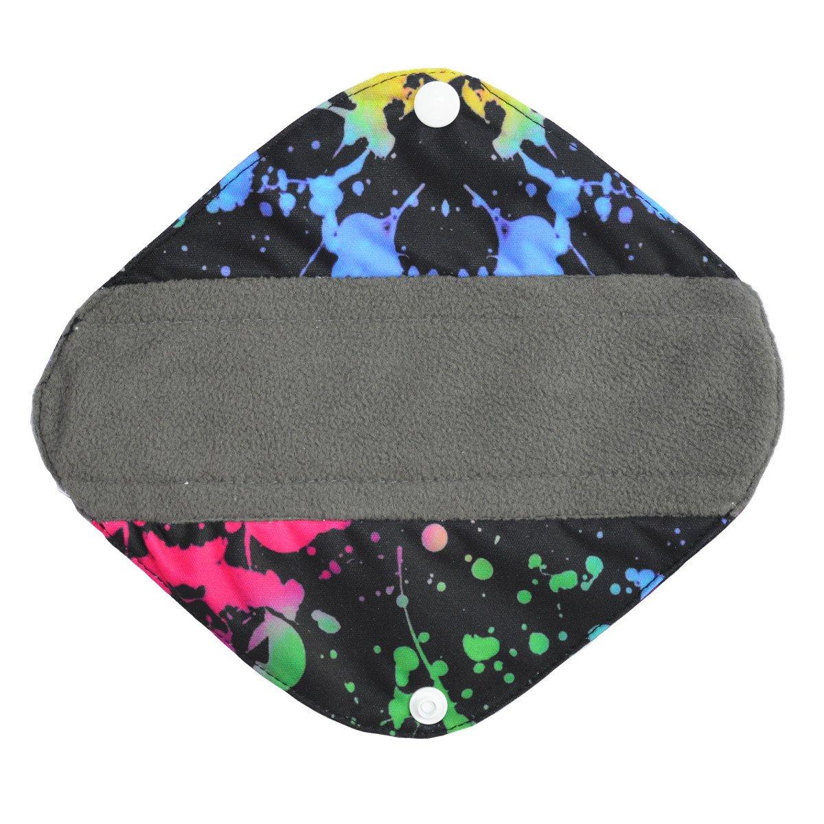 6pcs 10 Inch Regular Charcoal Bamboo Mama Cloth//Menstrual Pads//Reusable Sanitary Pads 7pcs Set 1pc Mini Wet Bag Solid