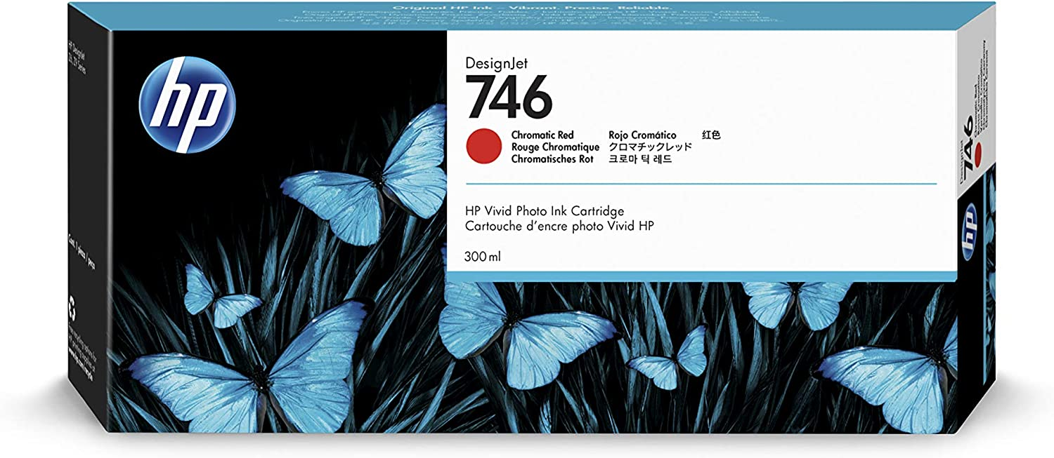 HP 746 Chromatic Red 300-ml Genuine Ink Cartridge (P2V81A) for DesignJet Z6 & Z9+ Large Format Printers