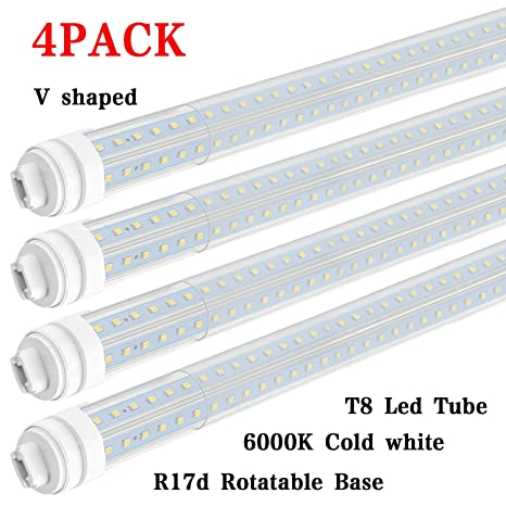 4PCS T8/T10/T12 R17D/HO 8FT LED Tube Light Bulbs, Light V Shaped 270 Degree  LED Fluorescent Tubes, 65W 6000K Cool White, 7200LM (150W Replacement),