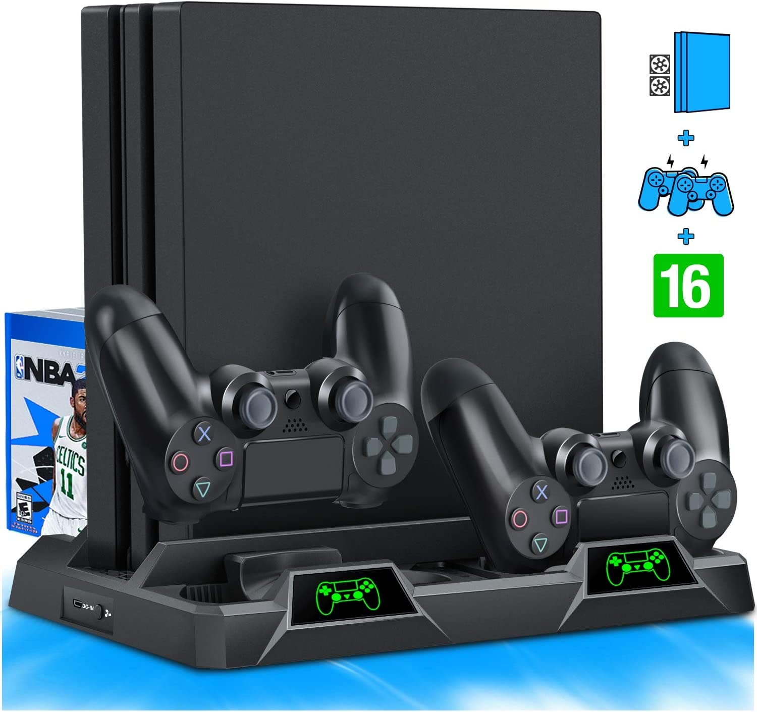 BEBONCOOL PS4 Stand Cooling Fan for PS4 Slim / PS4 Pro/Playstation 4, PS4 Pro Stand Vertical Stand Cooler with Dual Controller Charge Station & 16 Game Storage