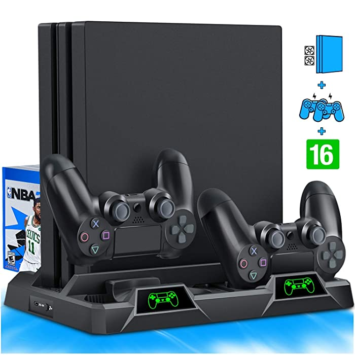 BEBONCOOL PS4 Vertical Stand Cooling Fan for PS4 Slim / PS4 Pro/Playstation 4, PS4 Stand Dual Controller Charge Station & 16 Game Storage