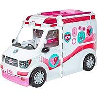 Barbie Ambulanza, Trasformabile in Clinica Mobile con 3 Stanze e Tanti Accessori, Bambola Non Inclusa, Giocattolo per Bambini 3 + Anni, FRM19