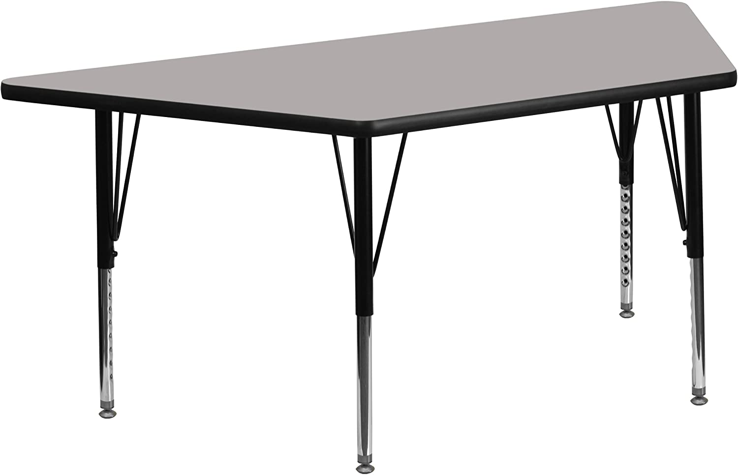Flash Furniture 25''W x 45''L Trapezoid Grey HP Laminate Activity Table - Height Adjustable Short Legs