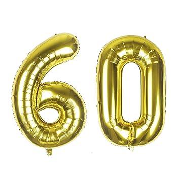 Globos gigantes de aluminio dorado con número 60, 40 ...