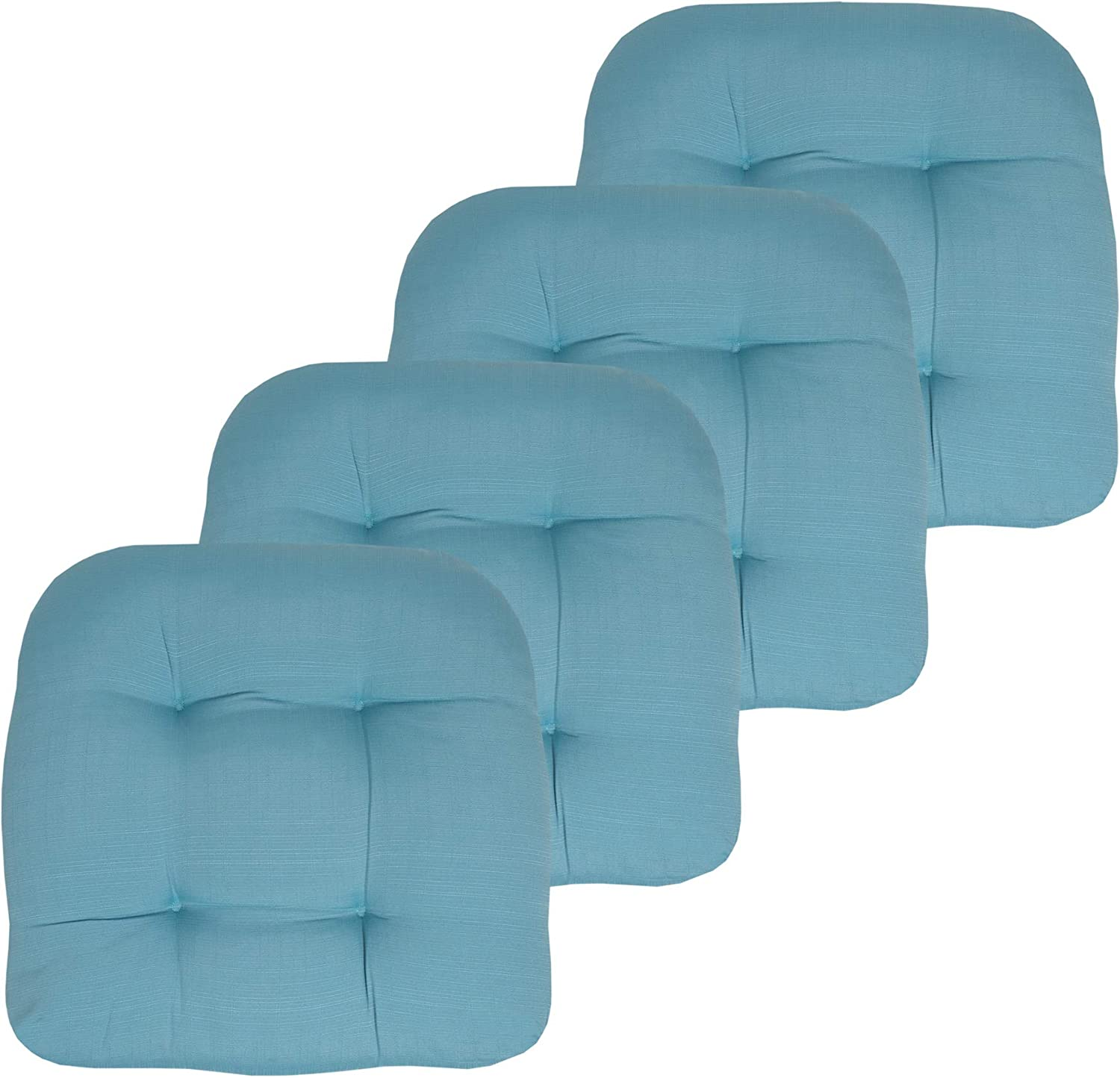 Sweet Home Collection Outdoor Chair Pads Patio seat Cover, 4 Pack, Teal