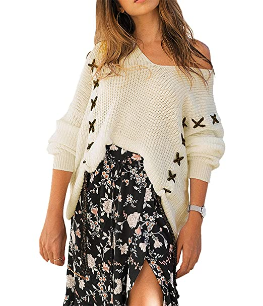 e19d29c9b8ff3 PRETTYGARDEN Women s Fashion V-Neck Long Batwing Sleeve String Crochet  Criss Cross Loose Knit Pullover