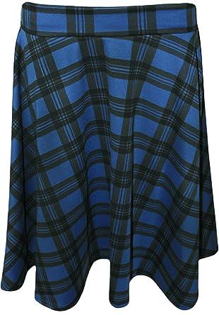 ded3804acb2 F4S Womens Plus Size Tartan Check Print Elasticated Waist Short Skater  Skirt 14-28  Amazon.co.uk  Clothing