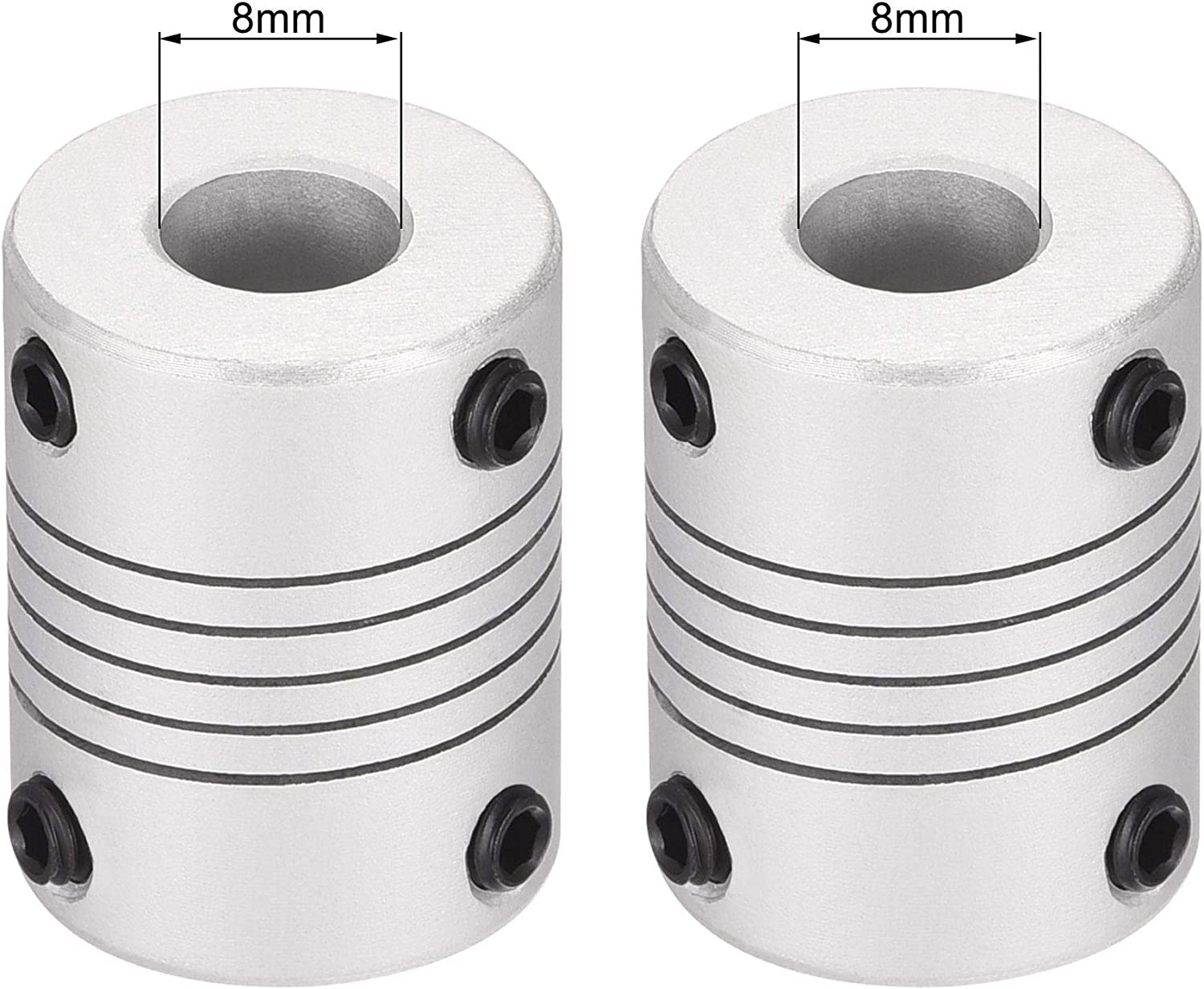 uxcell 8mm to 8mm Aluminum Alloy Shaft Coupling Flexible Coupler Motor Connector Joint L25xD19 Silver,2pcs