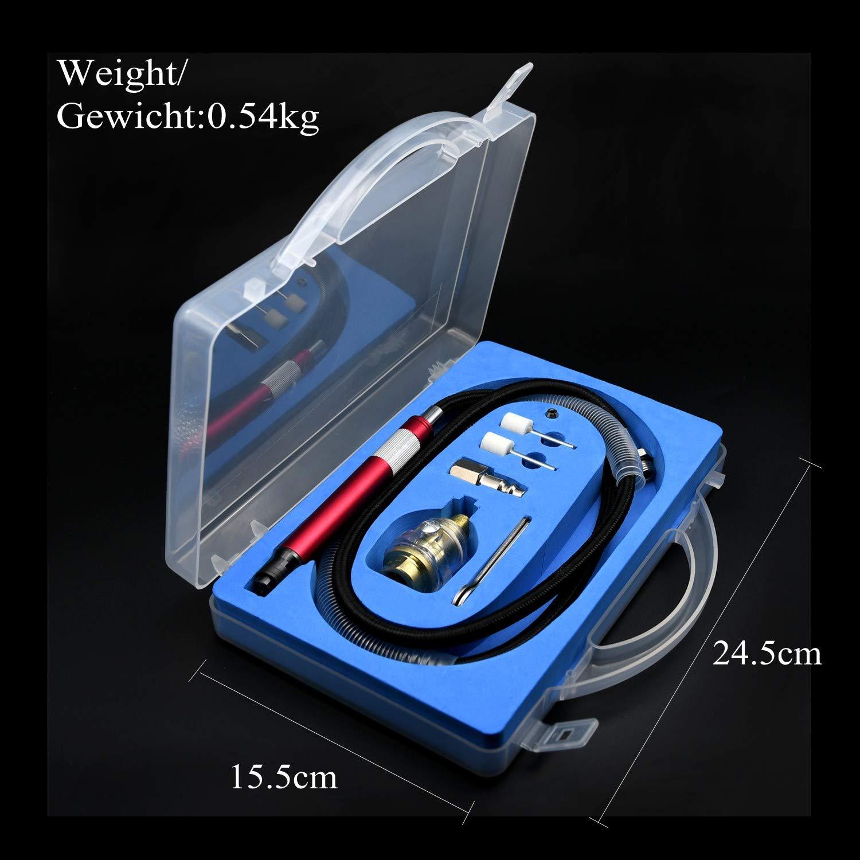 Mini Stabschleifer Bleistiftschleifer Druckluft mit 3mm 1//8 Rot Multifunktionsluftschleifer Set mit Box
