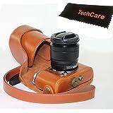 "TechCare ""Ever Ready"" Protective Leather Camera Case Bag for Fujifilm X-A3, Fujifilm X-A2 Digital Cameras with XC16-50 mm Lens (Light Brown), Fujifilm X-A3 case, Fujifilm X-A2 case"