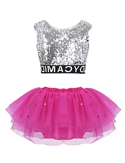 ec52cb078ddb iEFiEL Girls Sequined Crop Top with Tutu Skirt Hair Clip Costume Kids Choir  Jazz Dance Stage