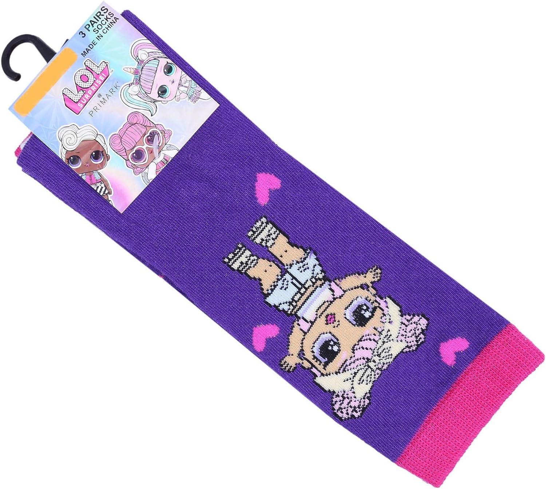 3x Calcetines de color rosa y morado LOL SURPRISE 23/26 EU: Amazon.es: Ropa y accesorios