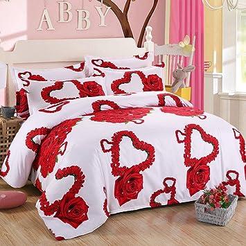Hetao Kreativ 3d Effekt Blumen Hausfrau Bettwasche Sets Rose 4 Stuck