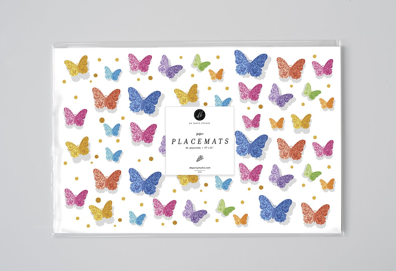 DB Party Studio Paper Place Mats 25 Pack Pretty Butterflies Design Indoor Outdoor Girl Birthday Engagement Grad Parties Baby Shower Disposable Quick Cleanup Table Setting Decor 17 x 11 Placemats