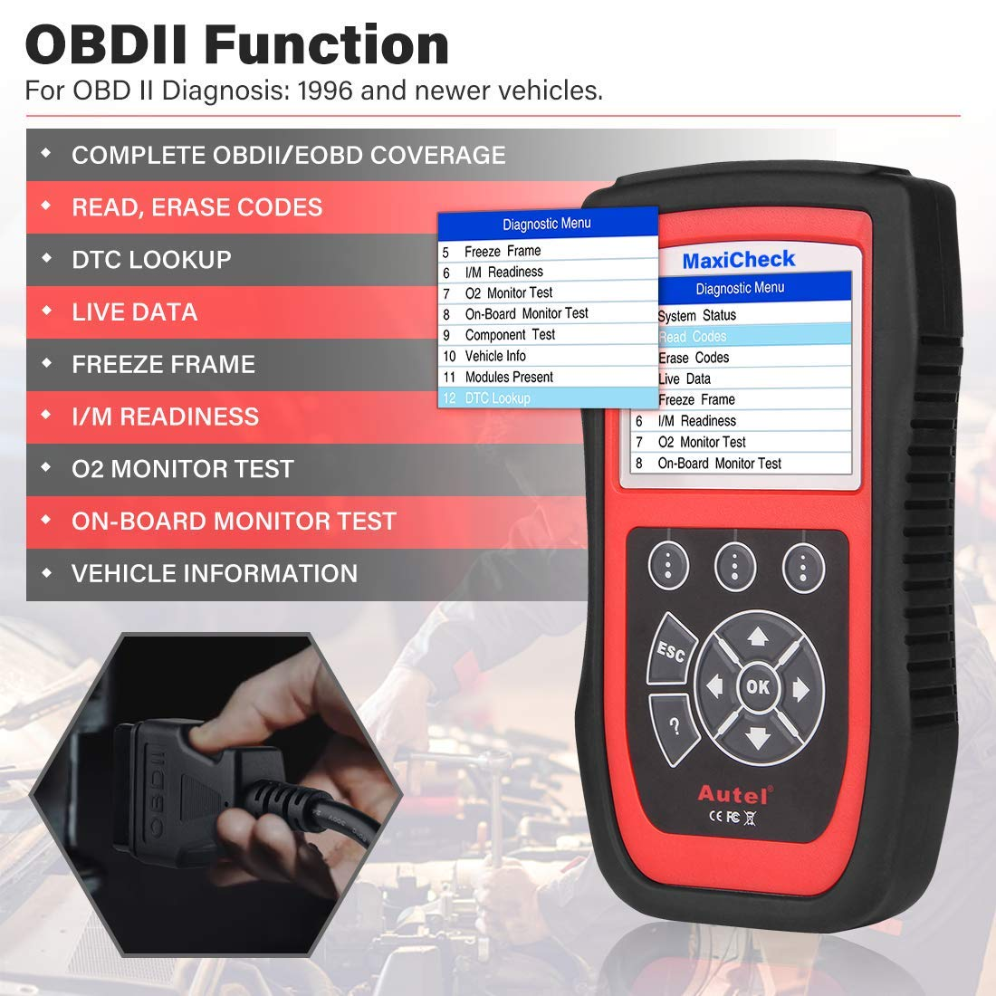 Autel MaxiCheck Pro OBD2 Scanner Automotive Diagnostic Scan Tool with ABS Auto Bleed, SRS Airbag, Oil Reset, SAS, EPB, BMS for Specific Vehicles 1996 to 2012 by Autel (Image #5)