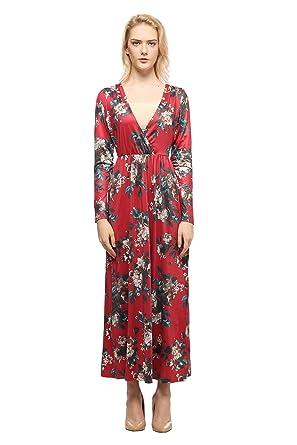 e4963c81ce Spring Long Sleeve Deep V Neck Vintage Elegant Red Wrap Dress (Red, Medium)