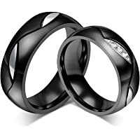Daesar 6MM Black Couple Rings 1 Pair Wedding Rings 6MM for Women Men & with Free Engraving
