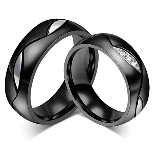 dfb6994895 Stainless Steel Black Wedding Band Wedding Rings 6MM for Her And Him Ring  Women Size 10 & Men Size 10: Daesar: Amazon.ca: Jewelry