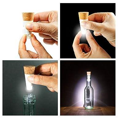 Tapón de corcho con luz LED y batería recargable con USB para botellas de vino, ideal para tascas, fiestas, Navidad o decoración del hogar (luz blanca): ...