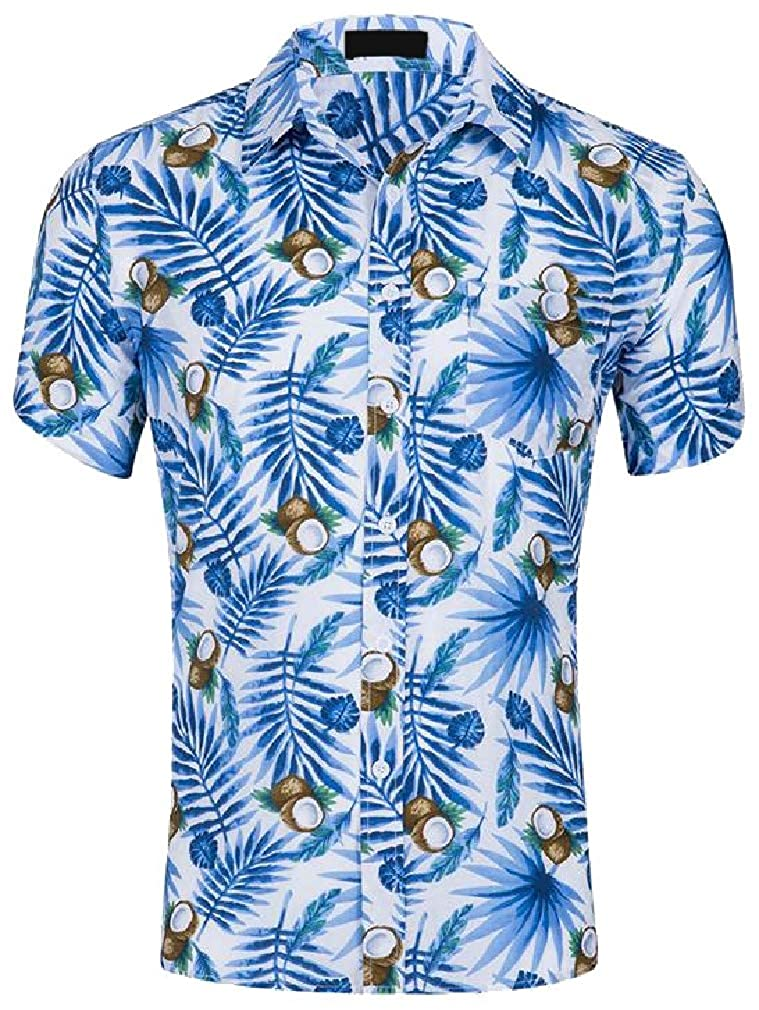 Cromoncent Mens Summer Short Sleeve Printed Hawaii Holiday Button Front Shirts