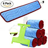 """6 Pack Microfiber Mop Pads Floor Mop 18"""" Wet and Dry Mop Washable Replacement Refills Fits 15 to 18 inch Hook with Clean Scraper"""