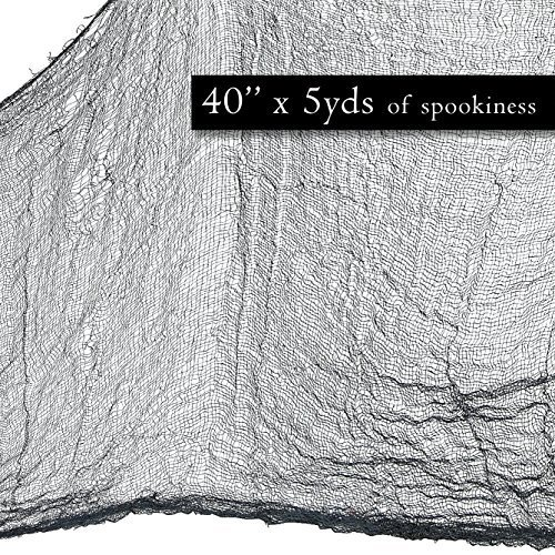 "Prextex Spooky Halloween Creepy Cloth Decoration- 5 Yards X 40"" Black Halloween Creepy Cloth (Spooky Photos Halloween)"