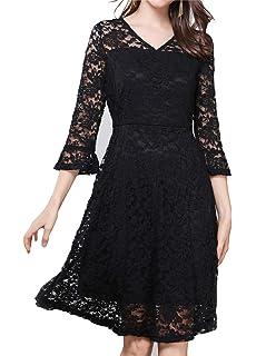 Luna et Margarita Petite Robe Noire Élégante Évasée en Dentelle Manche  Volantée Col Rond 24831b80a2df