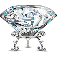 Large Crystal Diamond Paperweight with Stand Jewels Wedding Decorations Centerpieces Home Decor (3.15 inch)