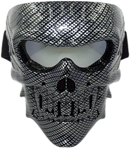 Full Face Protective Mask Paintball CS Hockey Halloween Masquerade Cosplay Eye Protection Skeleton Mask for Outdoor Activity Party Movie Props,Brown Tactical Skull Airsoft Mask