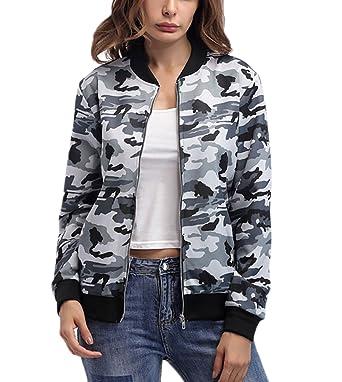 Bomberjacke Damen Herbst Fashion Aufdruck Camouflage Jacke Langarm  Stehkragen mit Mädchen Kleidung Reißverschluss Elegante Casual Vintage  Kurzmantel ... 257ba96bfd
