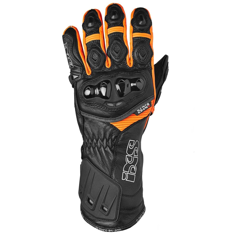 IXS Rs 200Men's Sports Gloves Leather-Black Orange Large