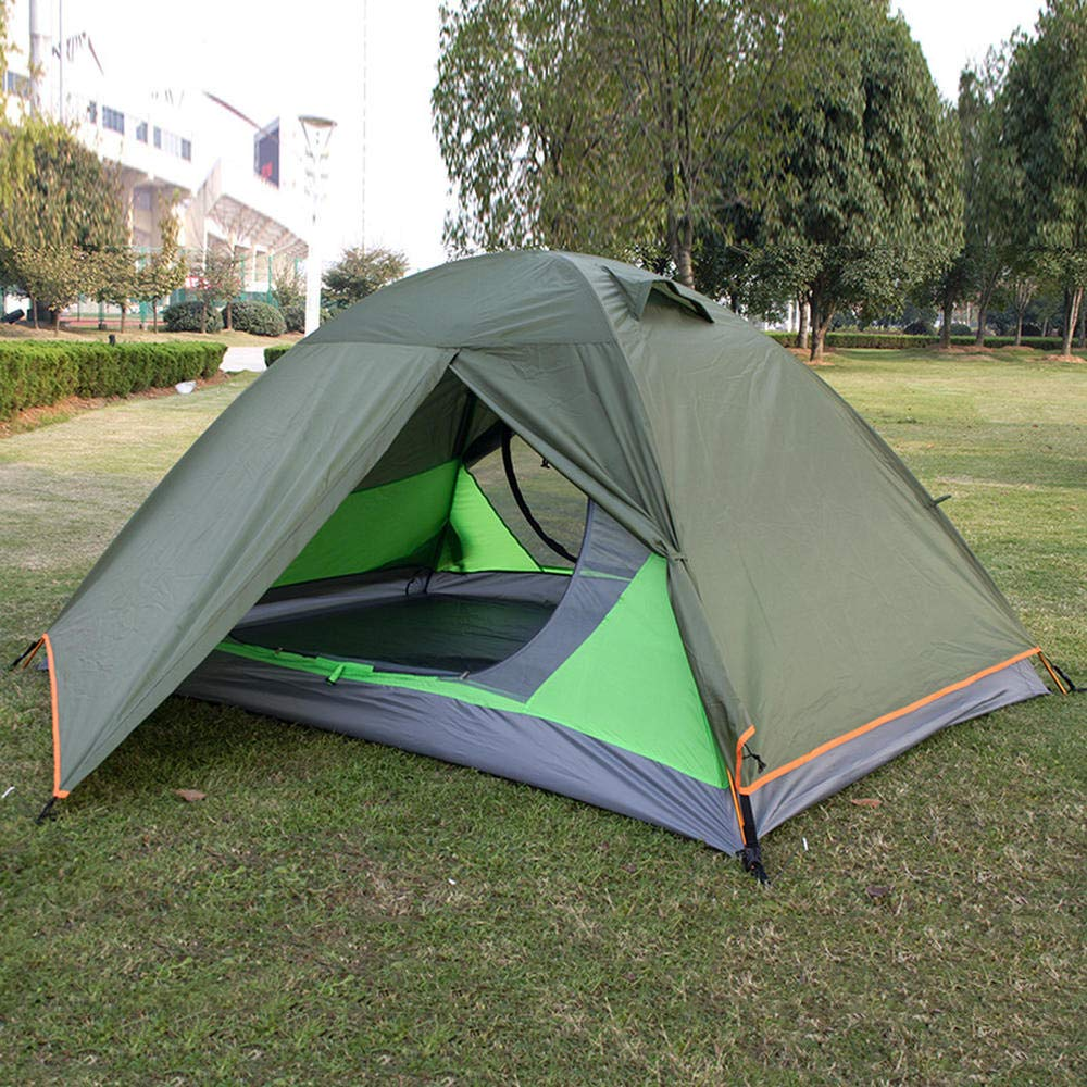 Green Aluminum Pole Tent for Rainstorm Predection in Outdoor Double Deck Travel Camping