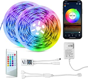 RGBW Led Strip Lights Sycn with Music Work with Alexa Google Assistant Magic Home pro App 32.8ft(10m) for Bedroom, Bathroom Dinning Room (RGBW-10M)