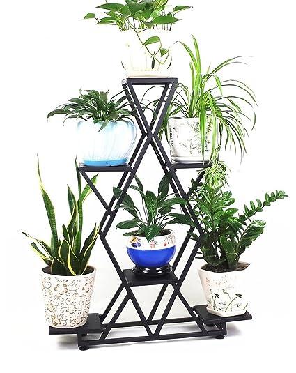 ZENGAI Estantes de flores para interiores Hierro Estanterías de varios pisos Estantes de flores para balcones Colgantes para orquídeas Jardinería: ...
