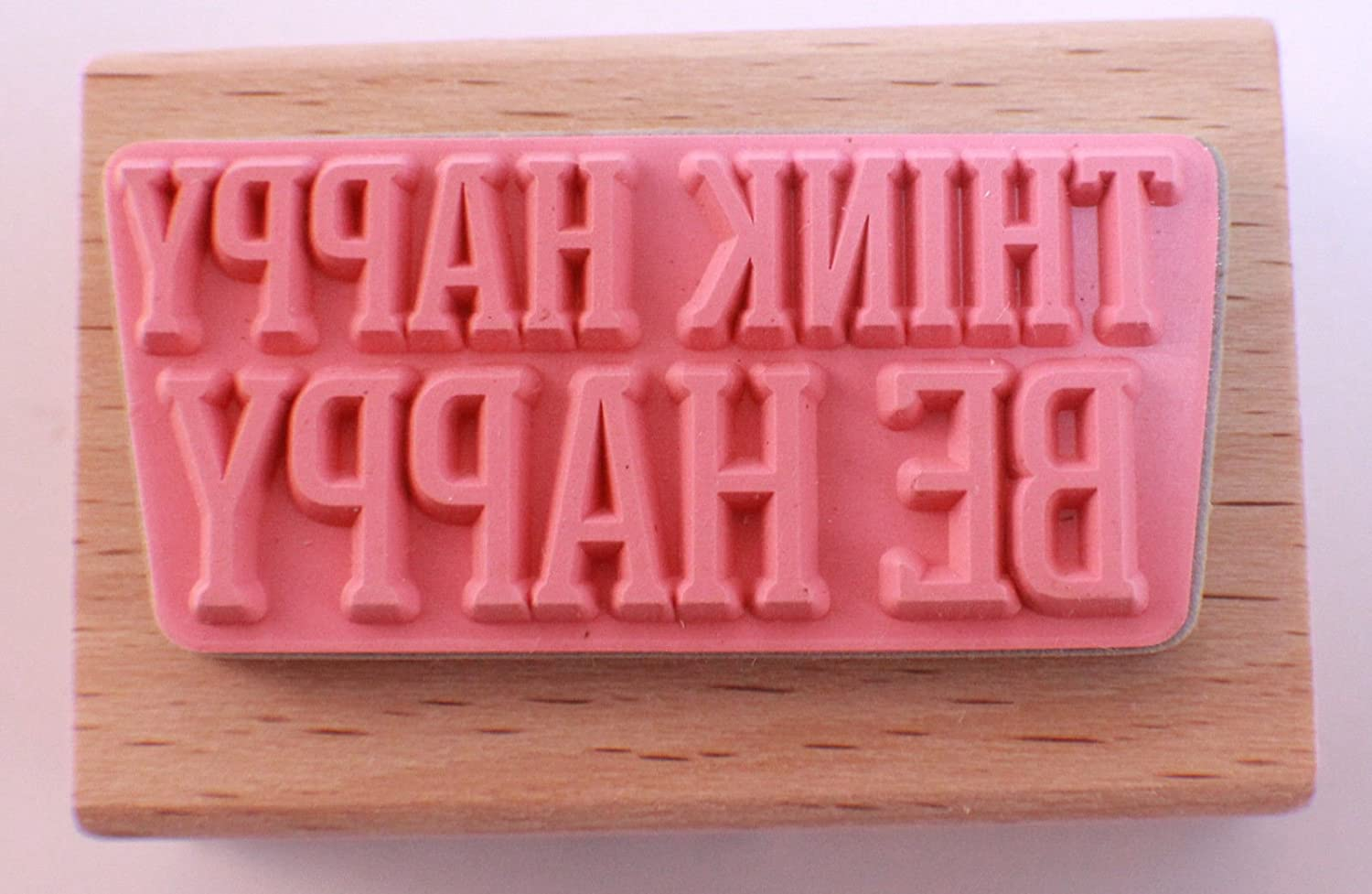 Think Happy Be Happy Words Writing Quote Studio G Wooden Rubber Stamp