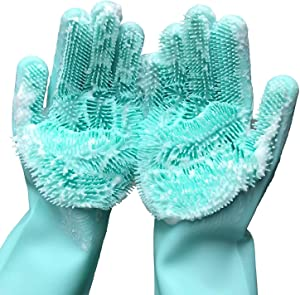"Cleaning Sponge Gloves, Silicone Reusable Cleaning Brush Heat Resistant Scrubber Gloves for Housework, Dishwashing, Kitchen Clean, Bathroom, Bathing, Car Washing, Window cleaning. 1 Pair (13.6"" Large)"