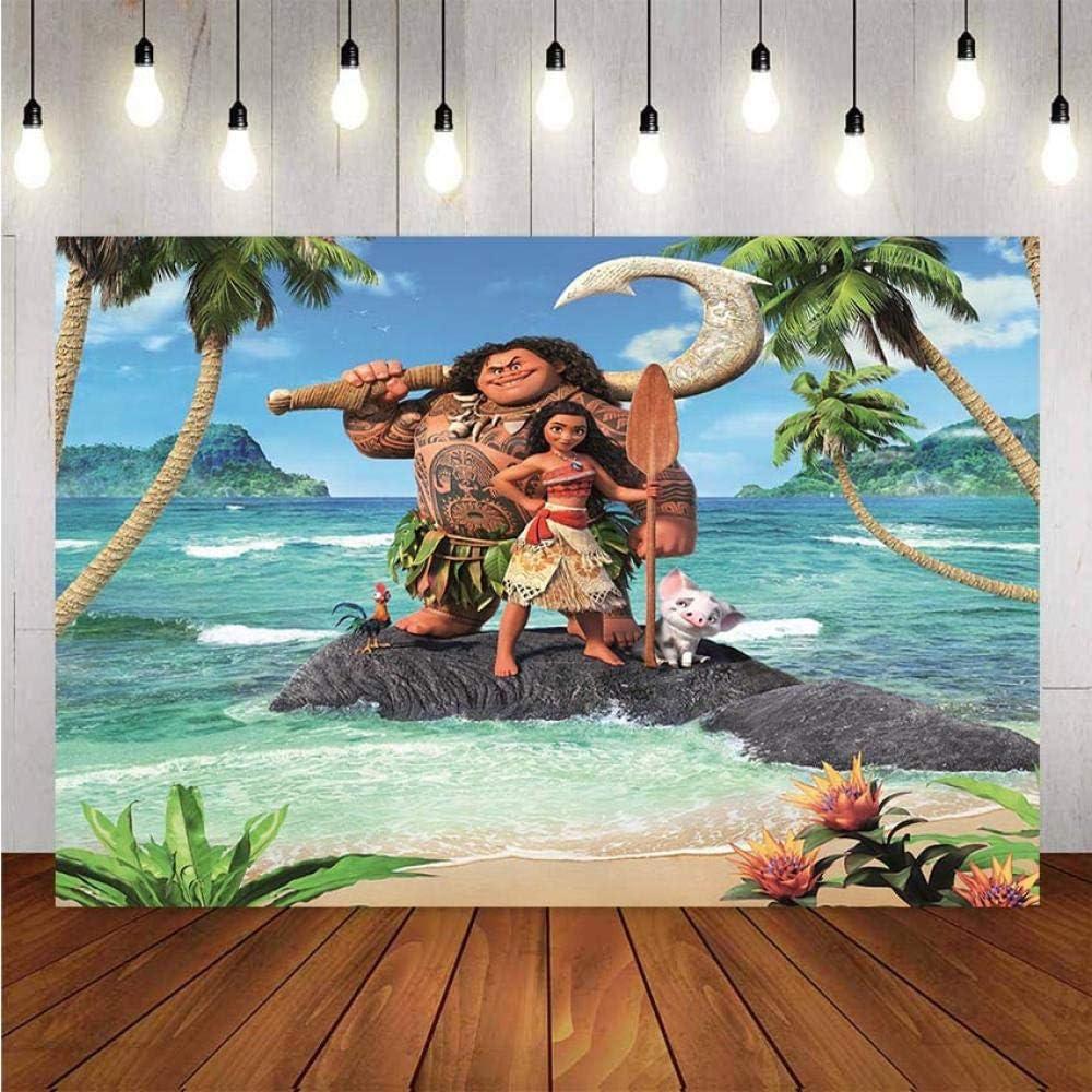 Foto tel/ón de Fondo de Vinilo Chica Dibujos Animados Fondo Cumplea/ños Moana Waialiki Maui Fiesta Evento Fondos de fotograf/ía Cortina de tel/ón de Fondo de fotomat/ón Tel/ón de Fondo Te