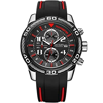 MEGIR Chronograph Sports Quartz Wrist Watches for Men Silicone Army Stop Watch Man Male