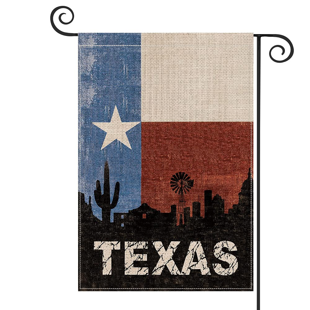 AVOIN colorlife Texas State Garden Flag Vertical Double Sided Lone Star State, Friendship Western USA Ranch Cactus Flag Yard Outdoor Decoration 12.5 x 18 Inch