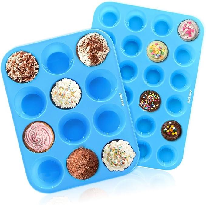 Ankway Molde de Muffin Silicona juego de 2, 12/24 tazas Molde de ...